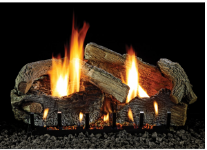 Empire Stacked Aged Oak Refractory Vent Free Gas Log Set