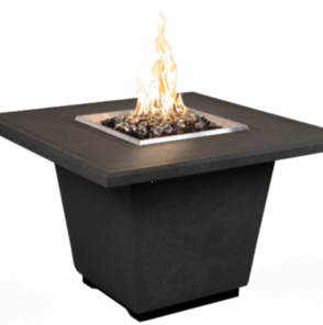 AFD Black Lava Cosmo Square Chat Height Fire Table