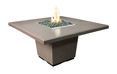 AFD Smoke Cosmo Square Dining Height Fire Table
