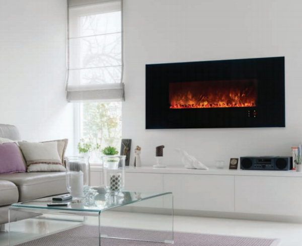Modern Flames Ambiance 60 Clx2 Linear Electric Fireplace W Black Gl Front