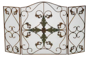 Dagan 3-fold Arched Fireplace Screen Antique Copper n Patina