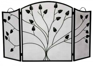 Dagan 3-fold Arched Fireplace Screen Black w-leaf design