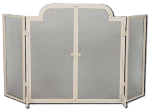 Dagan 3-fold Arched Fireplace Screen White Wrought Iron