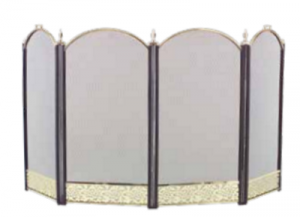 Dagan 4-fold Arched Fireplace Screen Polished Brass n Black with Filagree
