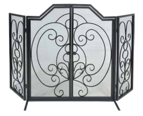 Dagan Arched Panel Fireplace Screen Black Wrought Iron